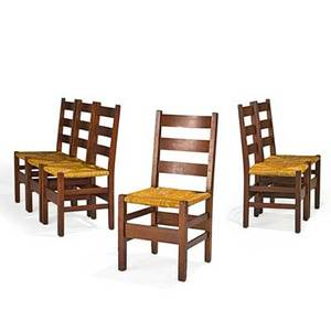 Gustav stickley set of six ladderback chairs with rush seats eastwood ny ca 1905 red decals 36 x 17 x 19