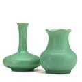 Teco two small vessels matte green glaze terra cotta il ca 1905 each stamped 5 5 34