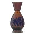George ohr 1857  1918 bulbous vase with deep inbody twist indigo yellow and pink spongedon glaze biloxi ms 18971900 stamped ge ohr biloxi miss 7 x 3 14 published ellison geor