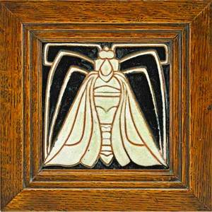 Frederick h rhead 1880  1942 rhead santa barbara rare tile decorated in cuerda seca with moth white and mirror black glazes 191417 incised rhead tile only 5 sq