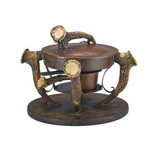 Joseph heinrichs attr chafing stand with cover and sterno ca 1900 copper horn nickel silver wood unmarked 12 x 14 12