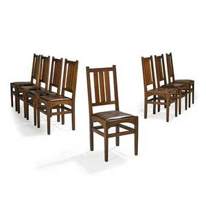 Harvey ellis gustav stickley set of eight dining chairs eastwood ny ca 1905 red decals 39 x 17 x 17