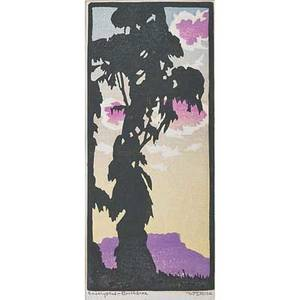 William rice american 1873  1963 color woodblock print eucalyptus  northbrae california pencil signed and titled image 7 34 x 3 12