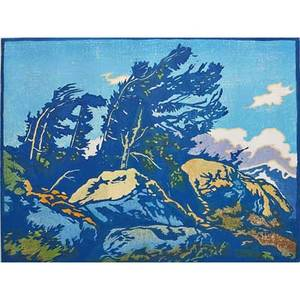 William rice american 1873  1963 color woodblock print on handmade paper windy summit california framed and matted pencil signed and titled image 9 x 12
