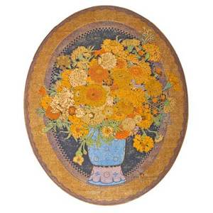 Gustave baumann american 18811971 color woodblock print marigolds santa fe nm 1920 framed chop mark artists signature dated and numbered 9100 image 21 34 x 17 12