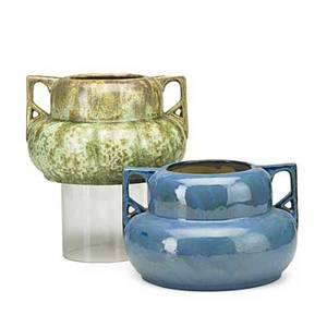 Fulper two squat gourdshaped twohandled vases one in exceptional leopard skin crystalline glaze the other in chinese blue glaze flemington nj 1910s vertical marks 6 12 x 9 12