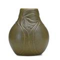 Van briggle bulbous vase with virginia creepers matte green glaze colorado springs co 1904 incised aa van briggle 1904 iii 8 14 x 7