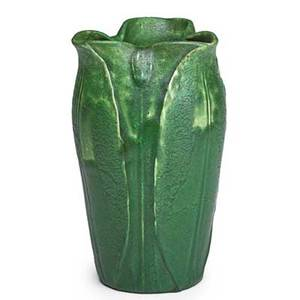 Grueby vase with lobed rim and fullheight leaves and buds curdled green glaze boston ma ca 1900 circular faience stamp 7 12 x 4