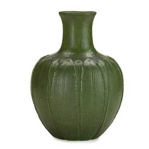 Grueby early bulbous vase carved with leaves boston ma ca 1900 circular faience stamp152 paper label 1114 artists cipher 12 x 9