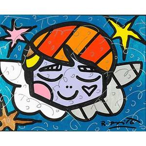 Romero britto brazilian b 1965 angel 2009 mixed media on paper framed signed dated and titled 10 12 x 13 38 sight provenance perron  company miami beach fl private collection