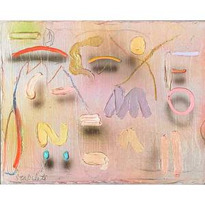 Joseph stabilito american b 1955 three works of art untitled 1997 acrylic on canvas signed 16 x 20 double r 1993 acrylic on canvas signed dated and titled 37 12 x 52 14 chopell