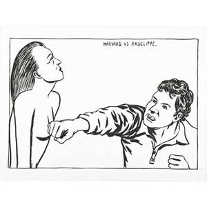 Raymond pettibon american b 1957 untitled harvard vs radcliffe 1987 ink on paper framed signed and dated 9 x 12 sheet provenance private collection