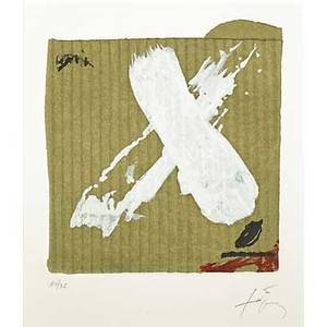 Antoni tpies spanish 19232012 two works of art untitled screenprint in colors on embossed paper framed signed and numbered 1475 11 12 x 9 34 sight untitled screenprint in colors