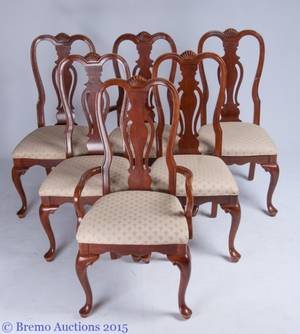 Queen Anne Style Dining Chairs Set of Six 6
