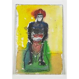 Michael byron american b 1954 untitled man with red hat watercolor on paper signed 6 x 4