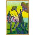 Salvo italian b 1947 untitled 1985 oil on board framed signed and dated 11 34 x 7 34