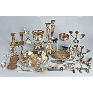 Sterling and silver plate box lot approx 42 pieces pair of tiffany  co weighted candle stands 10 pair of weighted threelight candle stands 5 4 sterling pepper shakers by sanborns 5 34