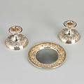 S kirk  son silver candle stands and dish repouss pattern pair of weighted candle stands small dish 39 ot dish only