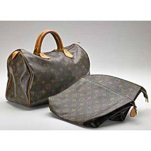 Fashion handbag and pouches three items in the style of louis vuitton two accessory pouches brown monogram canvas 8 x 10 speedy 30 brown monogram canvas soo927 12 x 8 x 6 missing leathe