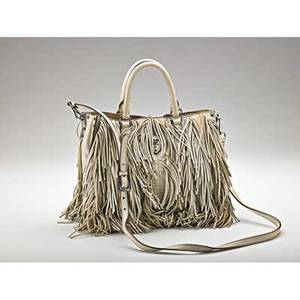 Prada grauffre tote cream fringe with silver tone hardware and studs drop handles and detachable strap with dust bag 10 x 12