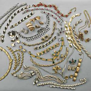 Collection of costume jewelry 19501970 sixtyeight pieces includes twelve suites by trifari vendome pearl and diamond suite bergere ruby and gold partial suite bergere asymmetric rhinestone