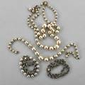 Miriam haskell pearl necklaces and bracelets double strand necklace faux graduated pearls 15  5 mm with rhinestone clasp approx 15 single strand necklace faux graduated pearls 16  6 m
