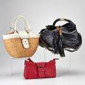 Three designer day bags coach wicker tote with white leather trim neutral leather trimmed signature cotton interior 9  x 16 x 5 gucci black cowhide hobo with bamboo bead tassels rigid handle