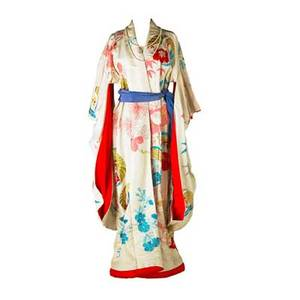 Japanese wedding kimono evening ensemble cream file with traditional floral and birds embroidered in blue red and pink silk and gold and silver wrapped threads 53 cuff to cuff 58 collar to hem