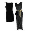 Two black dresses issey miyake pleated black sheath evening gown with gold cord belt retailed by bergdorf goodman sleeveless 54 approx size 10 with venetia studium gold printed velvet evening