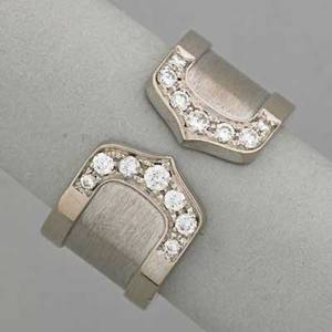 Cartier double c 18k gold diamond band ca 2001 ad 9298 48 18k wg 77 dwt size 5