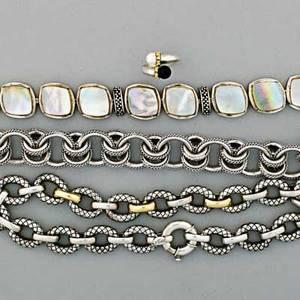 Contemporary fashion sterling jewelry tiffany  co pearlonyx bypass ring with 18k gold trim alisa necklace with 18k trim unmarked ringlink bracelet unmarked motherofpearl link bracelet 1794