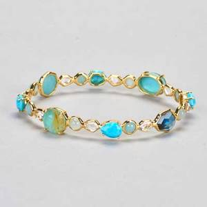 Ippolita 18k gold turquoise bangle rock candy gelato kiss with turquoise and quartz doublets blue and colorless quartz 128 dwt