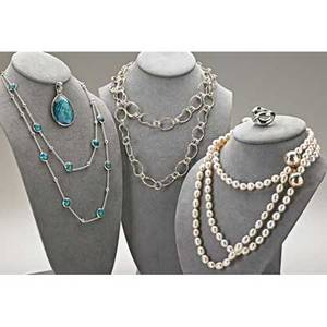 Five pieces of ippolita silver jewelry large wonderland teardrop pendant with quartz doublet quartzturquoise doublet mini lollipop and ball necklace 38 kidney chain 36 freshwater pearl stra