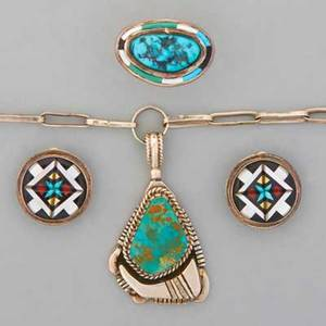 Collection of silver native american jewelry b begay navajo sterling and turquoise 2 14 pendant with 26 chain albert platero navajo sterling and turquoise ring with inlaid border size 6 pair o