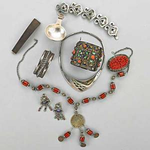 Asian and mexican silver souvenir jewelry 20th c enameled hinged cuff with coral french import marks after 1893 carved cinnabar brooch necklace with coral open cuff jeweled earrings in the st