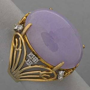 14k yellow gold lavender jade diamond ring oval jade cabochon 25 x 183 mm fourteen full cut diamonds 35 ct tw filigree setting 113 dwt size 8