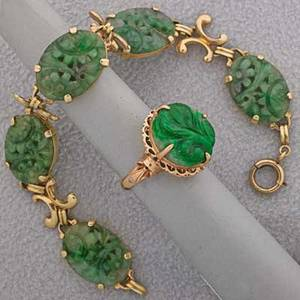 Gold carved jade or nephrite jewelry mid 20th c chinese carved jade ring 18k yg size 6 american 14k yg link bracelet 7 14 137 dwt