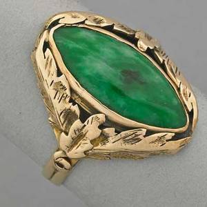 14k yellow gold jade ring ca 1930 marquiseshaped jade 169 x 82 mm foliate setting in antique box 23 dwt size 7