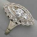 Navetteshaped 14k gold diamond cluster ring full and single cut diamonds approx 102 cts tw ca 1950 39 dwt size 7