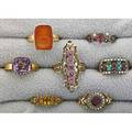 Victorian style gold rings 19th20th c seven pieces includes inlaid amethyst turquoise carnelian intaglio pink spinel garnet citrine pearl 147 dwt sizes 5  8
