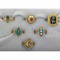 Victorian style gold rings 19th20th c six pieces includes turquoise seed pearls garnet jade enamel diamond 149 dwt sizes 5 14  9