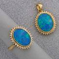 14k gold diamond and black opal doublet suite oval pendant matching ring size 6 diamonds approx 35 ct tw 63 dwt