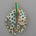 Jeweled 18k gold leopard pendantbrooch in the style of cartier white over yellow gold with emerald spots on diamond ground ruby eyes detachable emerald bail 2596 87 dwt 1 34