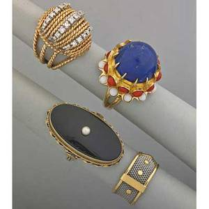 Four gold or platinum rings 20th c platinum mesh and 18k yg belt ring italy size 7 14k yg filigree bombe with approx 40 ct tw single cut diamond and wg accents size 4 12 large lapis c