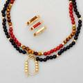 Gold hardstone necklace and rings six pieces two tigers eye carnelian onyx and gold bead necklaces with gold bead doubler set of three coordinating stacking rings rings only 30 dwt 48 gs