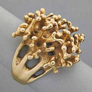 Freeform 14k yellow gold ring 14k yg freeform ring coral motif 116 dwt 181 gs 1 at widest point size 7