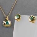 14k gold emerald jewelry ca 1990 triangular enhancerpendant and similar clip earrings for pierced ears approx 32 cts tw 86 dwt excludes gf chain