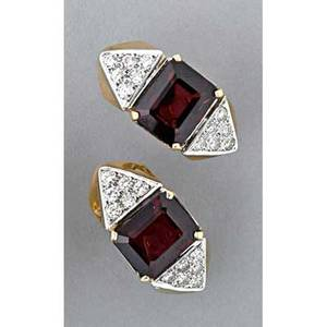 Pair of diamond and garnet earrings ca 1985 art deco style 14k yg garnet and diamond with white gold accents leverbacks for pierced ears diamonds approx 115 cts tw 101 dwt 1