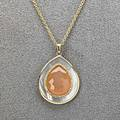 Ippolita 18k gold diamond ondine necklace rose cut peach moonstone teardrop framed by diamonds and oyster shell 53 dwt 1 18 18 chain