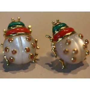 Jeweled 18k yellow gold ladybug earrings carved oyster shell coral and malachite 83 dwt 78  international bids and bids issuing from the state of california may be subject to laws that forbi